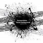 Black grunge ink blots tire track