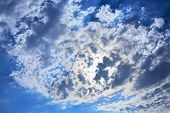Blue Sky With Clouds Covering The Sun. Can Be Used As Background.
