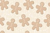 seamless background with gingerbread man