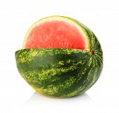 Studio Shot Whole Watermelon With Hole Isolated White