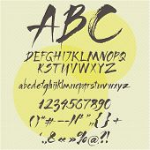 Vector alphabet. Hand drawn letters. Letters of the alphabet written with a ruling pen.