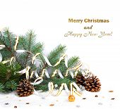 Christmas Fir Branch With Pine Cones, Gold Streamers And Stars On A White Background Isolated