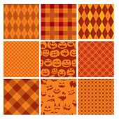 Set Of Halloween Plaid Seamless Patterns In Orange And Brown Colors