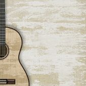 image of acoustic guitar  - abstract musical background acoustic guitar isolated on a white background - JPG