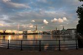 Panorama of the Binnenalster lake and the center of Hamburg