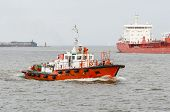 A pilot boat and a large  ship
