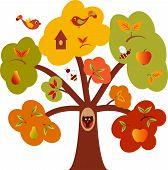 Fall Tree with Birds, Fall Tree