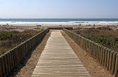 Wooden Slatted Walkway Leading Onto Beach In Durban South Africa
