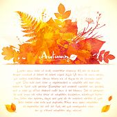 Orange watercolor painted leaves greeting card template