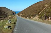 Narrow Road To Chapel Porth Beach In Cornwall Uk.