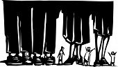 picture of wander  - Woodcut style expressionist image of small people wandering among giant legs - JPG
