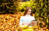 Beautiful Girl With Computer Tablet At Autumn