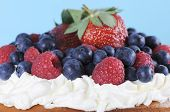 Fresh Whipped Cream And Berries Layer Sponge Cake Closeup.