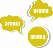 Aroma. Set Of Stickers, Labels, Tags. Template For Infographics