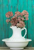 Antique white water pitcher and basin with flowers by rustic green wood background