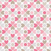 Floral vector seamless pattern. Red, pink, gray, brown and white