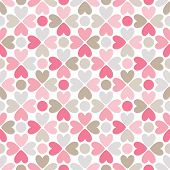 Floral vector seamless pattern with heart and dot shapes