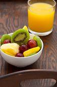 Healthy Breakfast Of Fruit Salad And Orange Juice