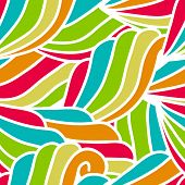 Abstract Hand-drawn Waves Pattern, Seamless Floral Vector Background