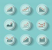 Graphs and flow chart icons