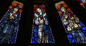 Mother Mary And Two Catholic Saints - Stained Glass