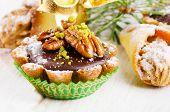 Chocolate Cupcake With Christmas Decoracions