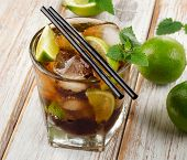 Cuba Libre Drink With Mint On  Wooden Table