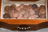 Oak Antique Dresser Drawer Filled With Old Indian Head Cents