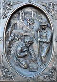 Bronze door details