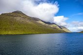 foto of faroe islands  - Landscape of part of the Faroe Islands near Klaksvik in the North Atlantic - JPG