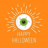 Eyeball With Shine Lines.  Happy Halloween Card. Flat Design Style.