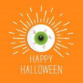 Eyeball With Shine Lines.  Happy Halloween Card. Flat Design Style.
