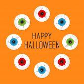Eyeballs With Bloody Streaks. Round Frame. Happy Halloween Card. Flat Design.