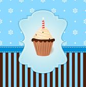 Vintage Vector Winter Card With Cream Cake And Candle. Blue Snowflake Background.