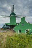 Traditional Dutch Windmill In Zaanse Schans (netherlands).