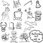 Vector Hand Drawn Of Halloween Objects