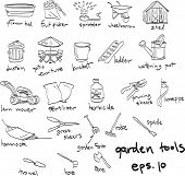 Hand Drawn Garden Tools, Doodles