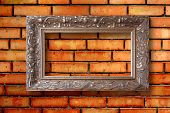 Vintage Wooden Frames For Pictures On Old Brick Wall