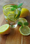 Glass with cold lemonade