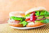Tasty Hamburgers Fresh Lettuce Ketchup