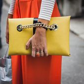 Detail Of Bag Outside Gucci Fashion Shows Building For Milan Women's Fashion Week 2014