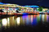 Colourful shop houses by Singapore River
