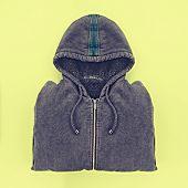 Neatly folded men's hoodies