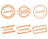 stock photo of tuesday  - Detailed and accurate illustration of Tuesday stamps - JPG