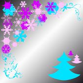 Cristmas Pines And Snowflake