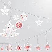 Silver Cristmas Balls And Fir Tree With Snowflake