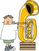 Boy playing a tuba