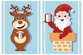 christmas cartoon characters - santa claus and reindeer