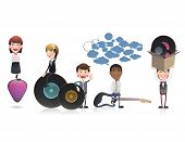 Business People With Vinyl Over White Background. Vector Design