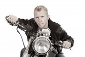 Man On Motorcycle Black Jacket Lean Forward Facing